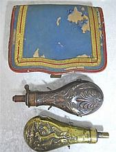 Civil War Era Cartridge Box, Powder Flask group