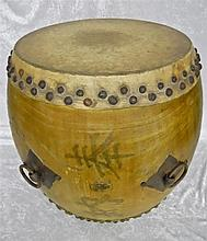 Japanese Wooden Kettle Drum, Kanji Signature