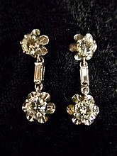 Pair 14K White Gold, Diamond Earrings