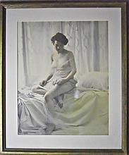 Early 20th C. Tinted Nude Photograph