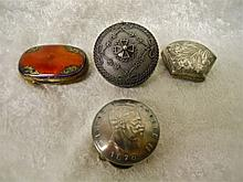 (4) 19th C. Italian Silver Pill Boxes