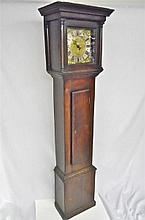 18th C. English Quinton Tall Clock in Oak Case