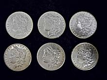 (6) Morgan Silver Dollars, New Orleans Mint