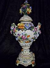 Two-Piece Dresden Porcelain Urn