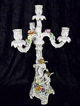 Two-Piece Dresden Porcelain Candelabra