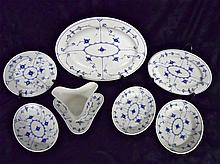 (7pc) Danish Hand Painted Porcelain Grouping