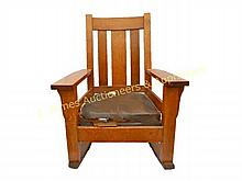 Early 20th C. Tiger Oak Mission Style Rocker