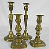 Four 18th C. Brass Candlesticks