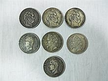 19th C. French Silver Five Franc Coins (7)