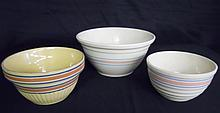 Three Antique Decorated Yellow Ware Bowls