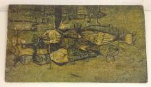 SPOONER O/B ABSTRACT OF BIRDS, 1957, SIGNED UPPER RIGHT AND ON BACK, MEASURES 11