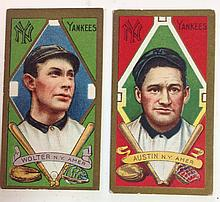 2 T205 New York Yankees Tobacco Cards, James Austin & Harry Wolter