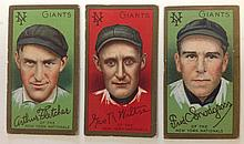 3 T205 New York Nationals Tobacco cards, including George Wiltse, Fredrick C. Snodgrass and Arthur Fletcher