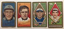 4 T205 Tobacco cards including Frank Schulte, Otis Crandall, Lee Ford Tannehill & Ira Thomas