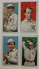 4 T206 Tobacco cards 2 Washingston & 2 Boston