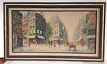 Large Paris o/c street scene signed Heyer 63