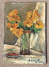 Impressionist o/b still life of flowers in vase