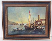20th C. o/c Venetian boats signed illegibly