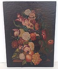 Decorative oil on wood panel floral and fruit still life