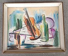 Still life W/C of musical instruments signed