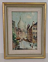 O/C Paris street scene, signed lower right