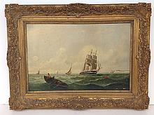 Early O/B seascape with boats signed illegibly