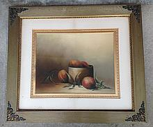 Pastel still life with peaches unsigned