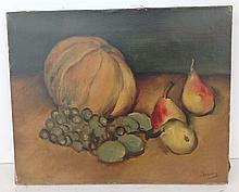 French Still life with pumpkin and fruit signed