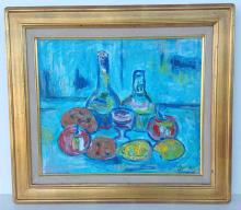 Impressionist o/c still life with fruit, bottles and glass, signed Sug. 91, in nice gilt frame. Canvas measures 15