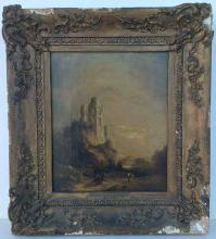 After Richard Parkes Bonington (?) o/c castle, with cows in foreground. Unsigned, with plaque, as pictured. Damage to frame, as pictured. Canvas measures 13