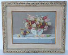 Marco Vukovic o/c floral still life, Woodstock, N.Y. Artist, signed lower left, nice period decorative frame. Canvas measures 12
