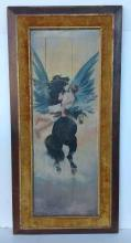 M M Restori 1898 o/Wood Panel classical figure on winged horse, boards have age separation, small amounts of paint flaking over horse head. In frame of the period, actual image measures 44