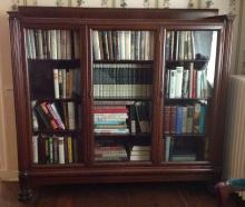 Mahogany triple door claw foot bookcase