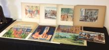 Lot of 10 Alfred Statler paintings on canvas and watercolors