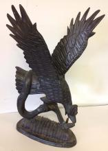 Contemporary Bronze of Bird and snake