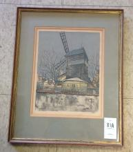 Le Moulin de la Galette color lithograph