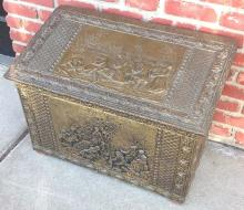 Brass relief decorated box