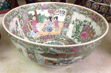 Asian paint decorated porcelain bowl