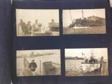 1890'S PHOTO ALBUM OF YACHTING, JAMAICA/CUBA, INCLUDING PHOTOS OF PEOPLE, BOATS, HOUSES, BEACHES, LAKES, WATERWAYS, SHIPS, HUTS, TENTS, ETC, ALSO HAS POSTCARDS, MISSING BINDING, AS PICTURED