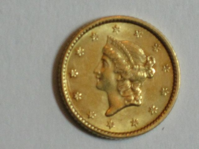 1853 Type I U.S. $1.00 Gold Piece AU-55