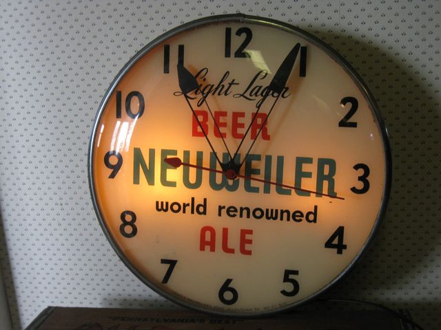 Large Neuweiler Beer Electric Wall Clock