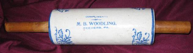 Stoneware Rolling Pin - M.B. Woodling Store, Reeders, PA