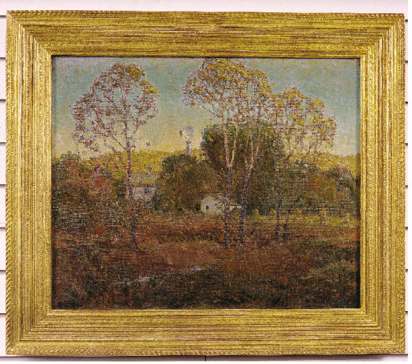 GRANT WOOD (American 1892-1942) Windmill, circa 1927 Oil on Canvas Signed Lower Left