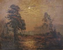 Unsigned: European Landscape with Moon & Cottage