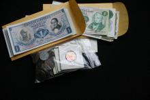 One lot of Foreign Coins and Currency