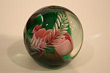 Joe St. Clair etched and windowed ruby rose paperweight