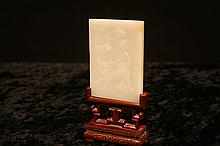 Chinese carved jade plaque with stand