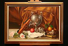 Roberto Lypetti: Still Life with Apple, Violin and Pink Roses
