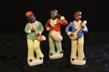 (3) signed Occupied Japan Black porcelain band figures