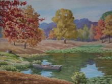 Roy Muncie: Autumn Pond with Boat